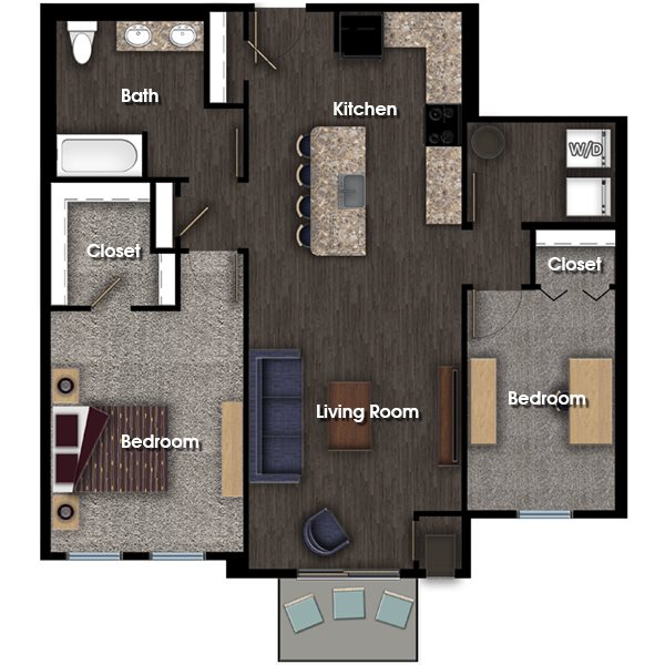 Franklin A 2 bed 1 bath floor plan