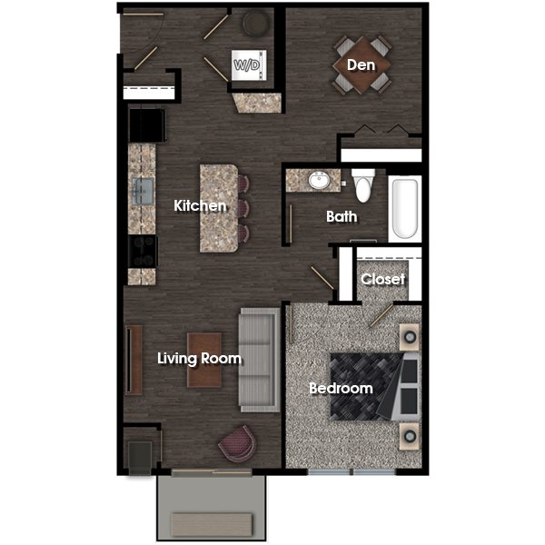 Franklin C 1 bed 1 bath + den floor plan