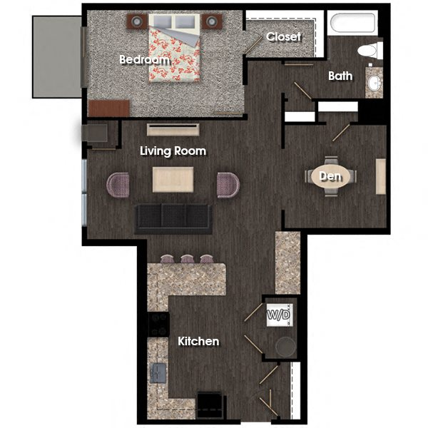 Franklin D 1 bed 1 bath + den floor plan