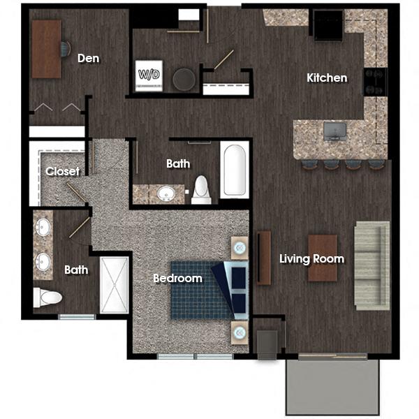 Franklin E 1 bed 2 bath + den floor plan