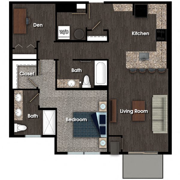 Franklin E 1 bed 2 bath + den floor plan