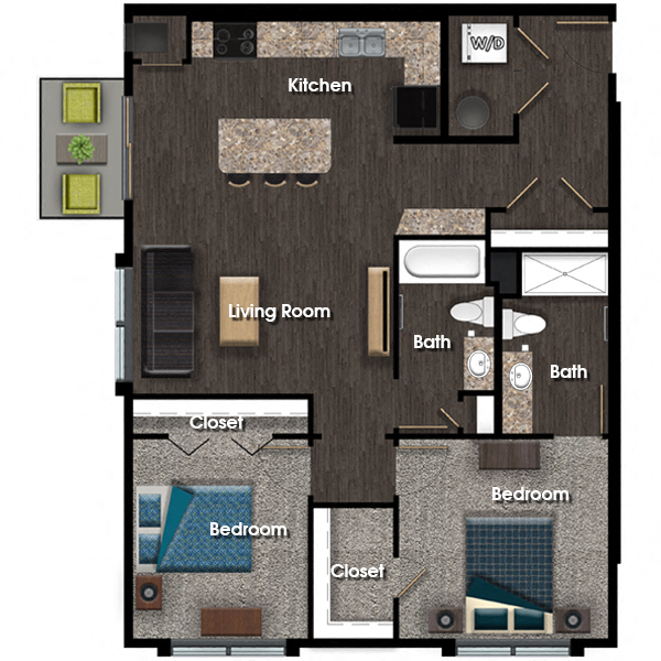 Jefferson B 2 bed 2 bath floor plan