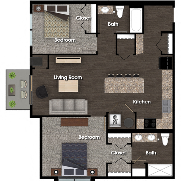 Jefferson C 2 bed 2 bath floor plan