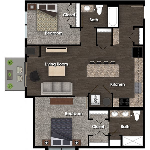 Jefferson C 2 bed 2 bath floor plan