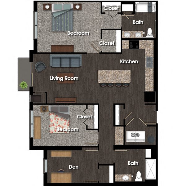 Madison 2 bed 2 bath + den floor plan