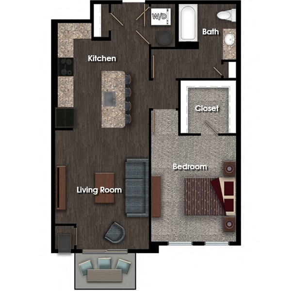Washington B 794 sq ft floor plan