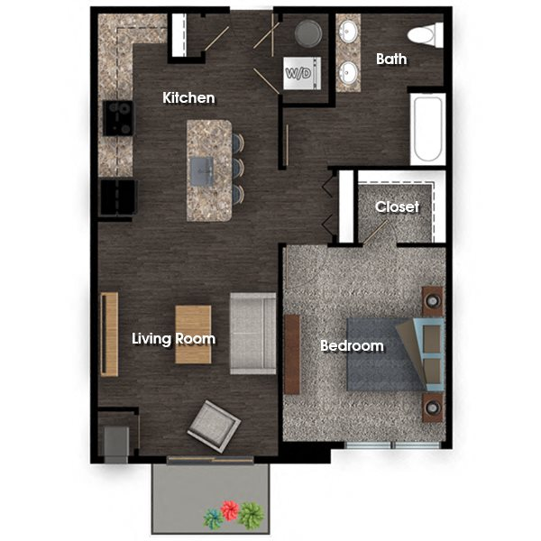 Washington C 1 bed 1 bath 758 sq ft floor plan
