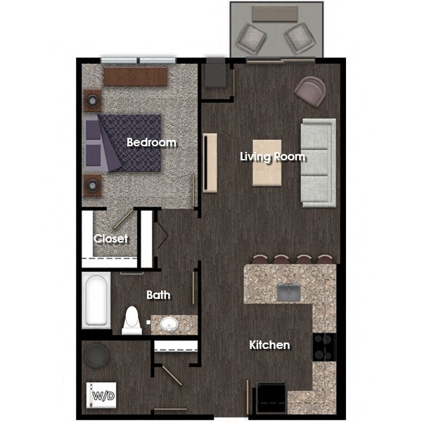 Washington D 1 bed 1 bath floor plan