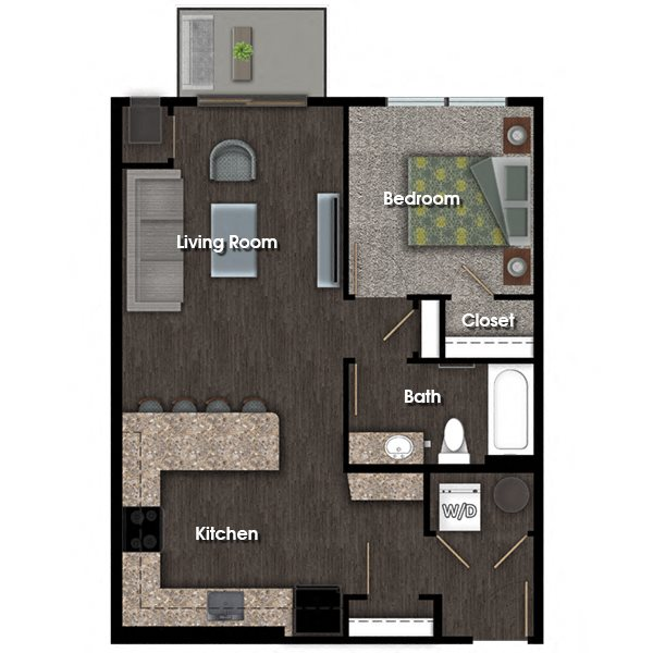 Washington E 1 bed 1 bath floor plan