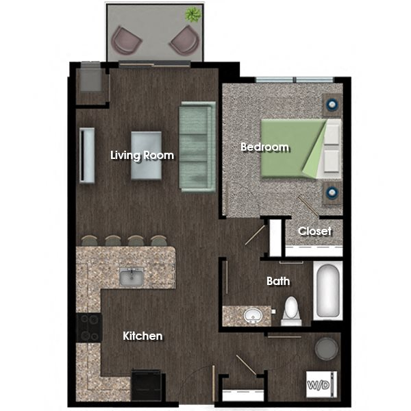 Washington F 1 bed 1 bath floor plan