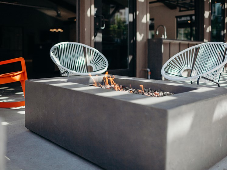 Outdoor courtyard firepit and seating area