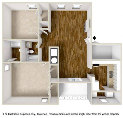 Two Bedroom, Two Bath Floor Plan 1