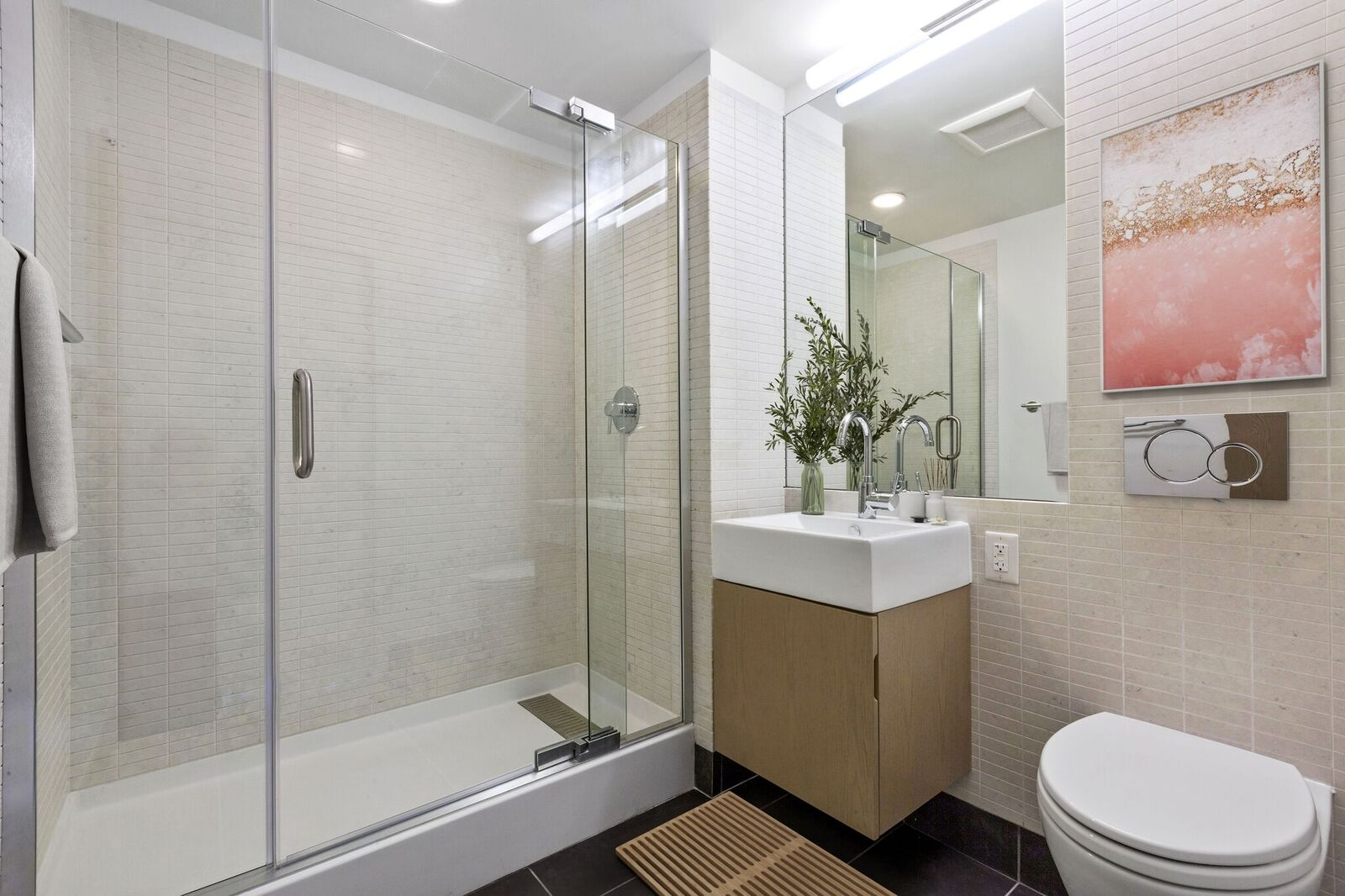 Glass Enclosed Shower at 461 Dean, Brooklyn, New York