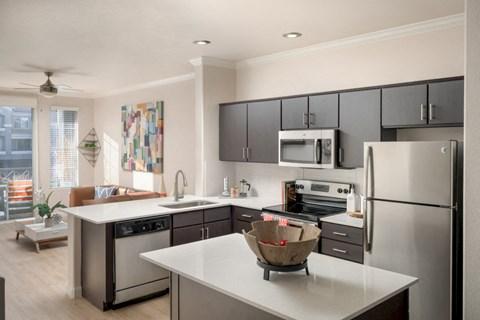 model kitchen and living room, open floorplan
