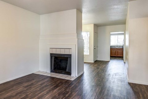 The Palms Apartments Living Room with hardwood-style flooring, fireplace, and light grey walls