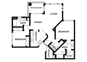 two bed two bath with balcony 1042 sqft