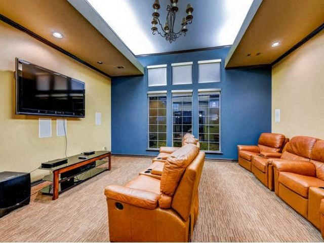 Sonoma Resort at Saddle Rock Theater room with brown reclining chairs, large tv and blue accent wall