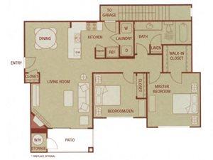 Sonoma Resort Apartments 2 bed 1 bath 970sqft