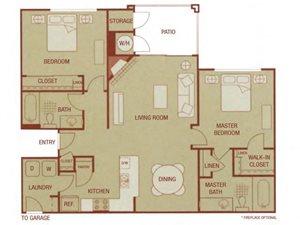 Sonoma Resort Apartments 2 bed 2 bath 1033 sqft