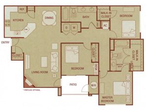 Sonoma Resort Apartments 3 bed 2 bath 1235 sqft