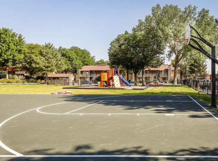 basketball court with playground and trees in the background