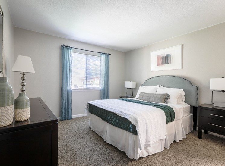 Large master bedroom with plush carpeting, king sized bed and large window
