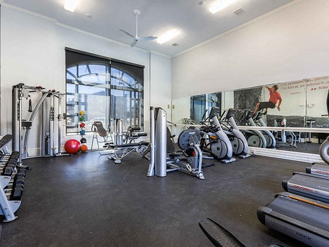 Champions Park Apartments fitness center with cardio machines, free weights, bosu balls, and floor to ceiling mirrors and windows