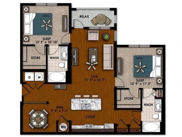 Bouganvilla two bedroom two bathroom floor plan