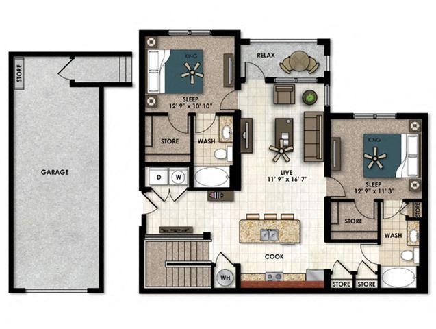 Bouganvilla with garage 2, two bedroom two bathroom floor plan