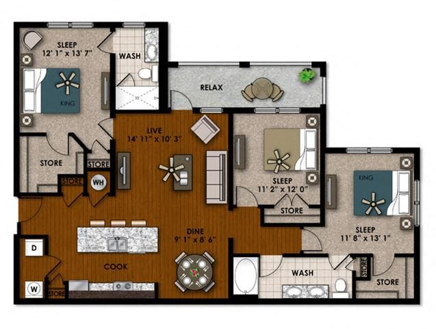 Foxtail three bedroom two bathroom floor plan
