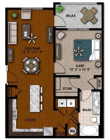 Jasmine one bedroom one bathroom floor plan