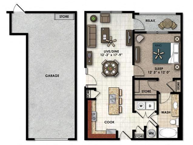 Jasmine one bedroom one bathroom with single car garage floor plan