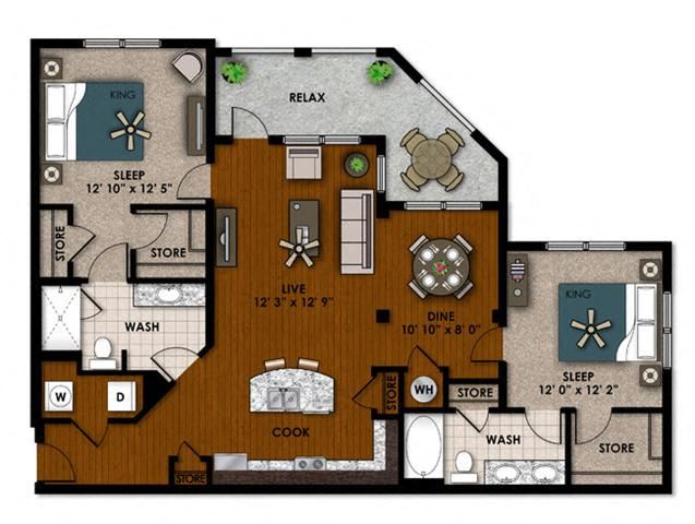 Royal Palm two bedroom two bathroom with wrap around balcony floor plan