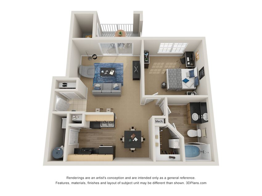 Preserve at Mobbly Bay, A1R layout, 776 square foot one bedroom one bathroom