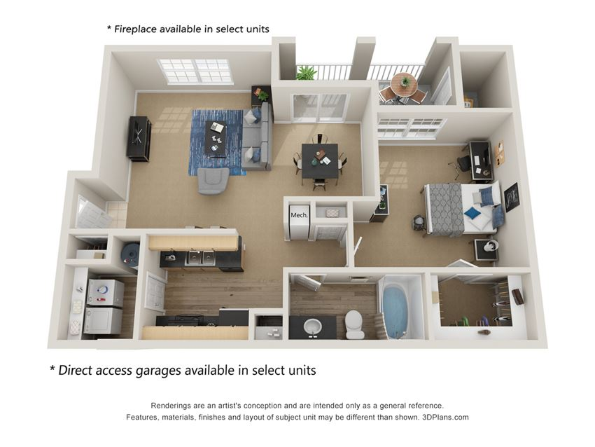 Preserve at Mobbly Bay, A2R layout, 898 square foot one bedroom, one bathroom