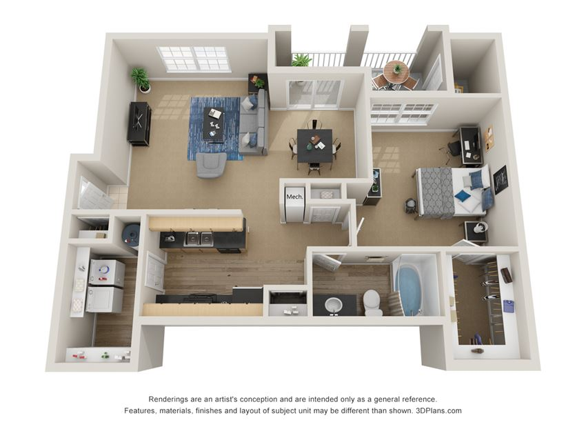 Preserve at Mobbly Bay, A4 layout, 949 square foot one bedroom, one bathroom
