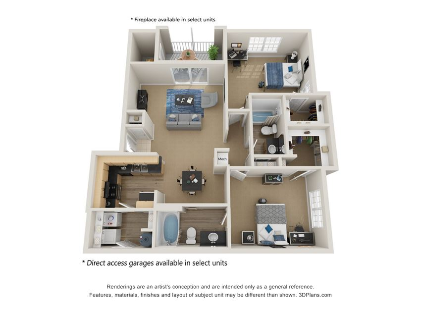 Preserve at Mobbly Bay, B2R layout, 1,158 square foot two bedroom, two bathroom