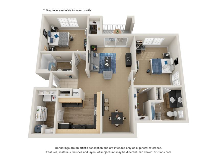 Preserve at Mobbly Bay, B5 layout, 1,232 square foot two bedroom, two bathroom