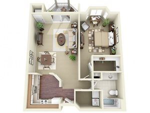 One Bedroom Apartment Style A Floor Plan