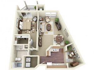 One Bedroom Style C Apartment Floor Plan