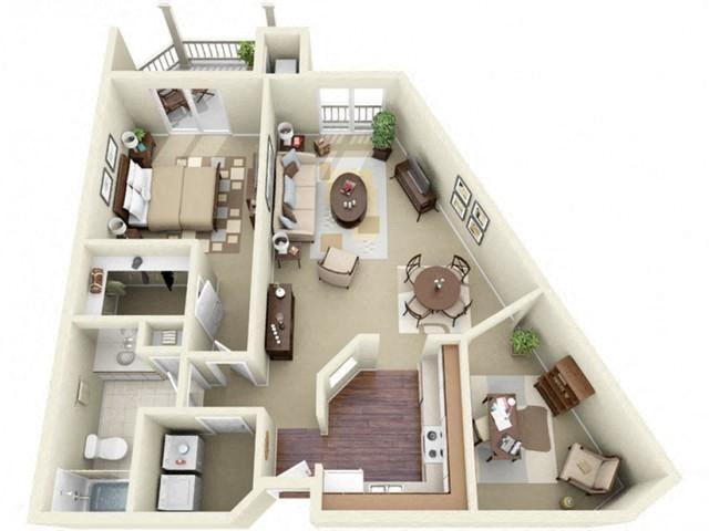 One Bedroom Style D Apartment Floor Plan