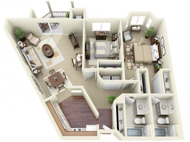 Two Bedroom Style A Apartment Floor Plan
