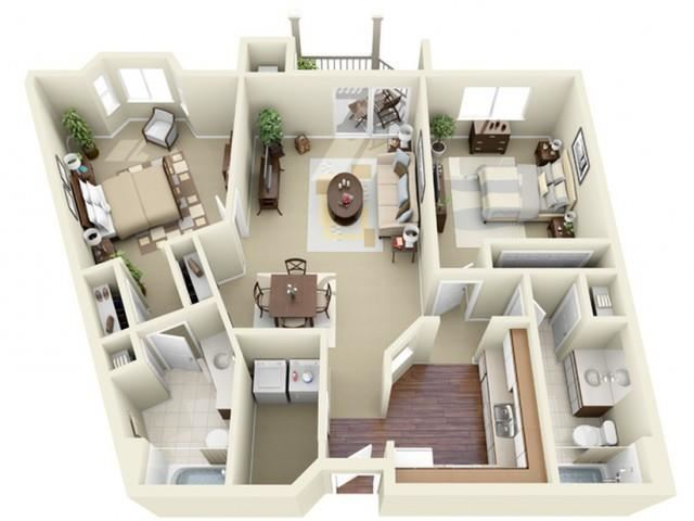 Two Bedroom Style B Apartment Floor Plan