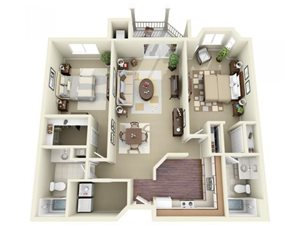 Two Bedroom Style D Apartment Floor Plan