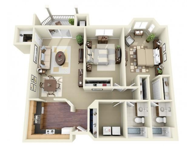 Two Bedroom Style E Apartment Floor Plan