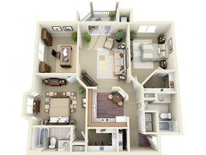 Two Bedroom Style F Apartment Floor Plan