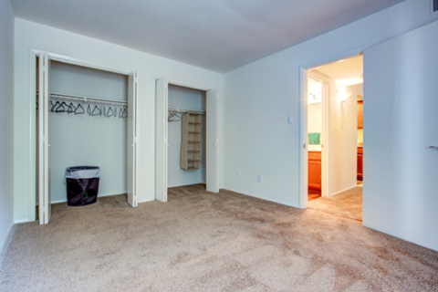 bedroom view: carpeted with closets