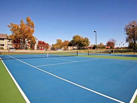 Two lighted tennis courts surrounded by green landscaping