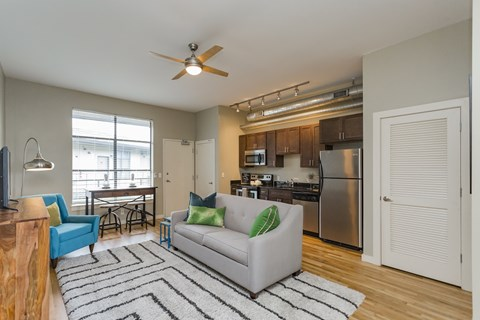gale lofts living area with kitchen