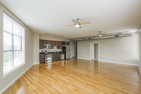 spacious loft style living room and kitchen